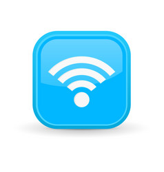 wifi icon blue square shiny button vector image