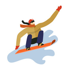 winter sport man on snowboard snowboarder vector image