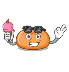 with ice cream hamburger bun character cartoon vector image