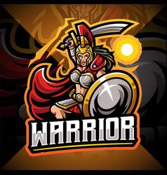 Women warrior esport mascot logo design vector
