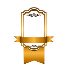 yellow square emblem with ribbon icon vector image vector image