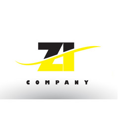 Zi z i black and yellow letter logo with swoosh vector