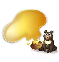 A gray bear and a pot of honey vector image