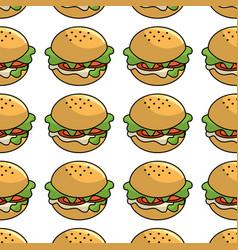 Fast food hamburger meal background vector