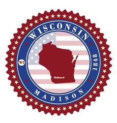 Label sticker cards of state wisconsin usa vector