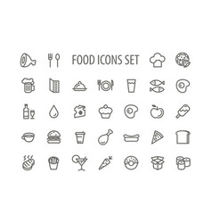 outline food simple icons set vector image vector image
