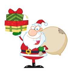 Santa Claus Holding Up A Stack Of Gifts vector image vector image