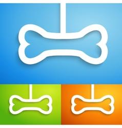 Set of applique bone icon for happy animal vector