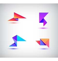 set of colorful abstract 3d origami logos vector image