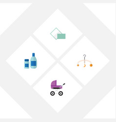 flat baby set of cream with lotion napkin mobile vector image vector image