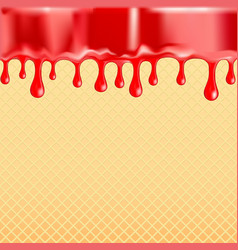 Sagging red glaze on the sweet food texture vector