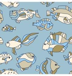 seamless pattern aquarium fish wave vector image