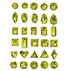 Set of realistic yellow topaz jewels vector image vector image
