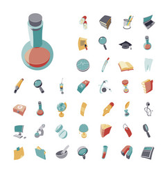 vintage icons set for science and medical vector image