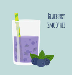 blueberry smoothie vegetarian organic detox drink vector image
