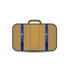 brown travel bag with blue denim inset vector image