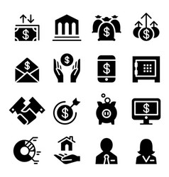 Business financial icon set vector