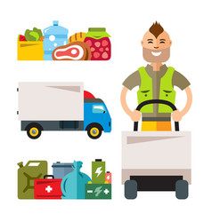 delivery service flat style colorful vector image vector image
