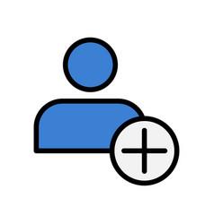 flat icon of add friend adding user symbol vector image