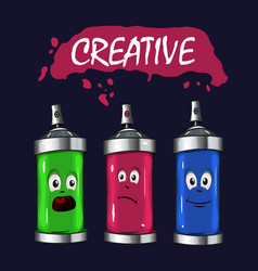 logo sprays with pink green blue paint vector image