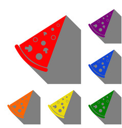 pizza simple sign set of red orange yellow vector image