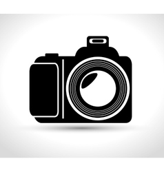 professional photo camera with flash white vector image