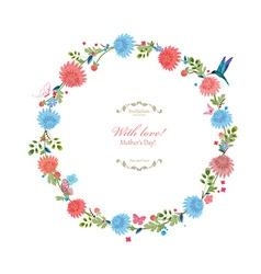 Round floral frame for your design with love vector image