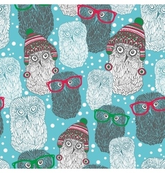 Seamless pattern with hipster polar owls vector image vector image