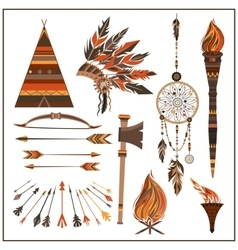 Set elements ethnic style beads wigwam fire vector image vector image
