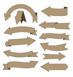 Set of cardboard arrows vector
