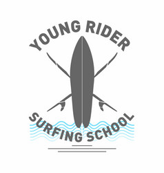 surfing school logo monochrome surfboard with vector image vector image