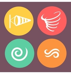 Wind icons on round buttons vector image