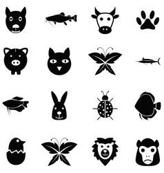 animals icon set vector image