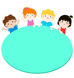 border template with happy kids vector image vector image