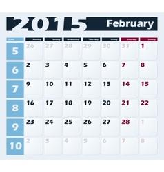 Calendar 2015 February design template vector image vector image