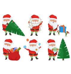 christmas santa claus poses set vector image vector image