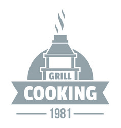 grill cooking logo simple gray style vector image vector image