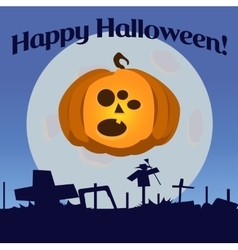 Halloween pumpkin with three eyes vector image vector image