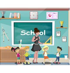 happy children at school classroom with teacher vector image