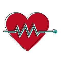 heartbeat cardiac monitoring pulse flat icon for vector image vector image