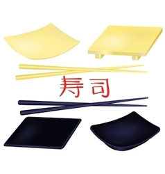 Sushi plates and chopsticks set vector image vector image