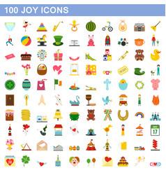 100 joy icons set flat style vector image