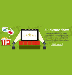 3d picture show banner horizontal concept vector image