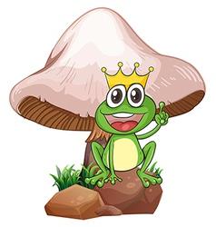 A king frog near the giant mushroom vector image