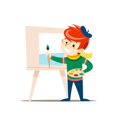 A young artist with a palette and a brush vector