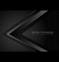 Abstract black metallic arrow on hexagon mesh vector