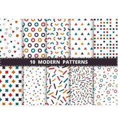 abstract colorful modern geometric pattern set vector image