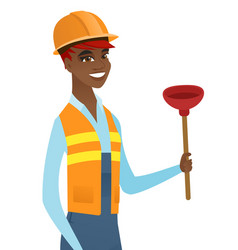 african-american plumber holding plunger vector image