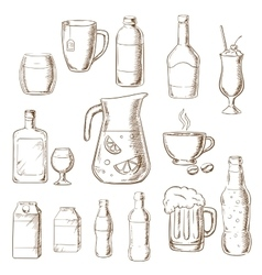 assorted alcohol beverages juice and drinks vector image