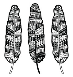 Aztec zentangle style feathers vector image